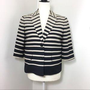 ANN TAYLOR Striped Cropped Blazer Nautical